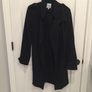 Black Trench Coat in Ultra Suede
